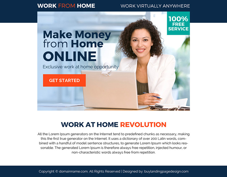 exclusive work from home opportunity ppv landing page design