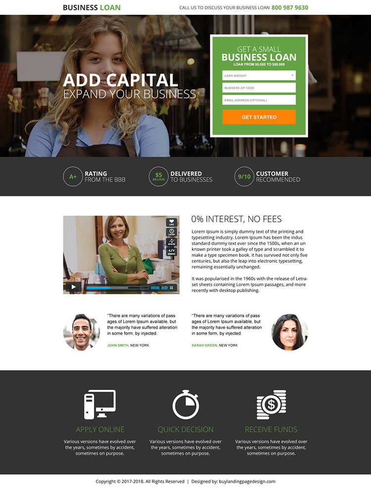 business loan small lead form landing page