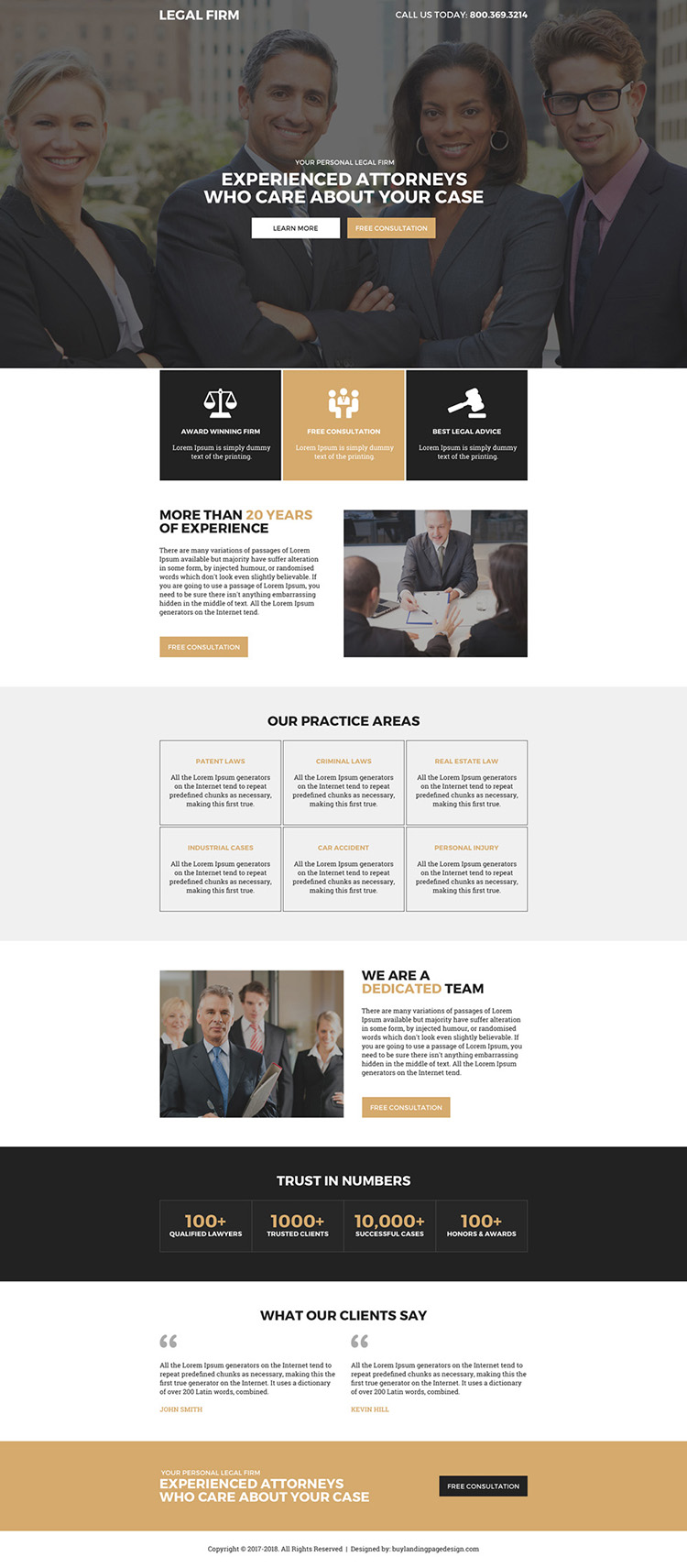 legal firm professional lead capturing landing page design