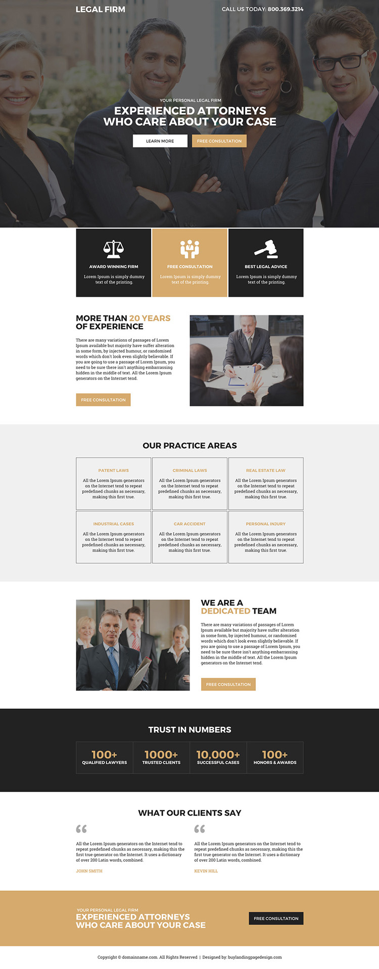 experienced attorneys free consultation responsive landing page design