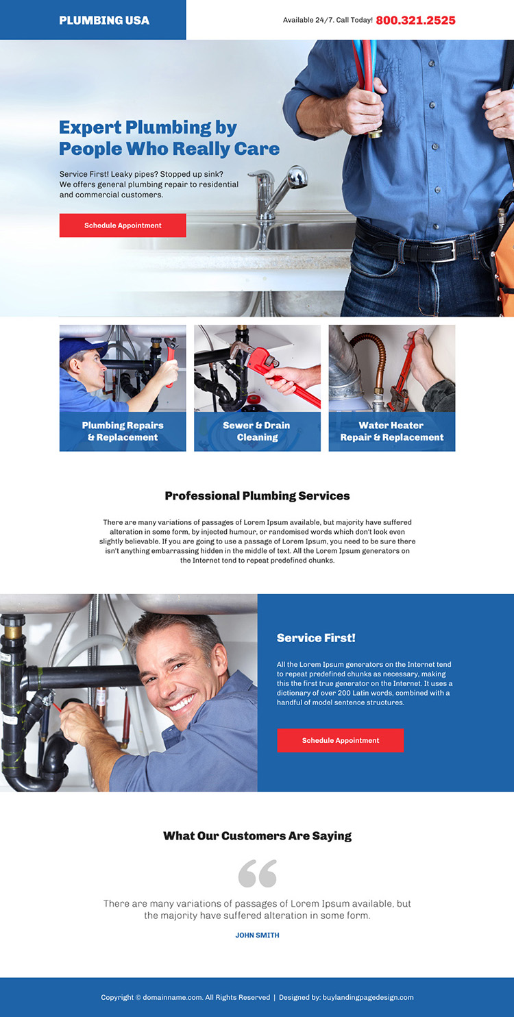 professional plumbing service bootstrap landing page