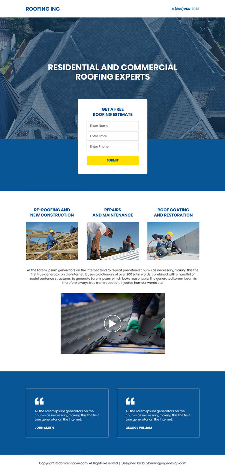 residential and commercial roofing expert minimal landing page