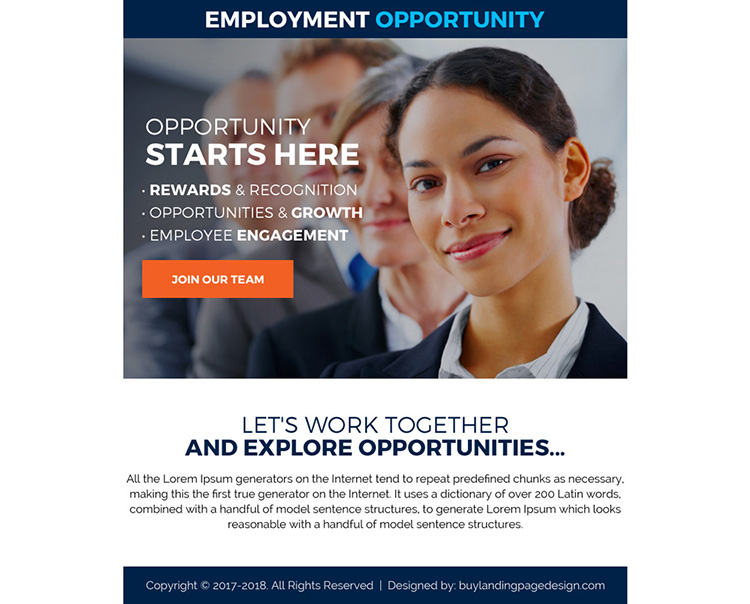 employment opportunity sign up capturing ppv landing page design