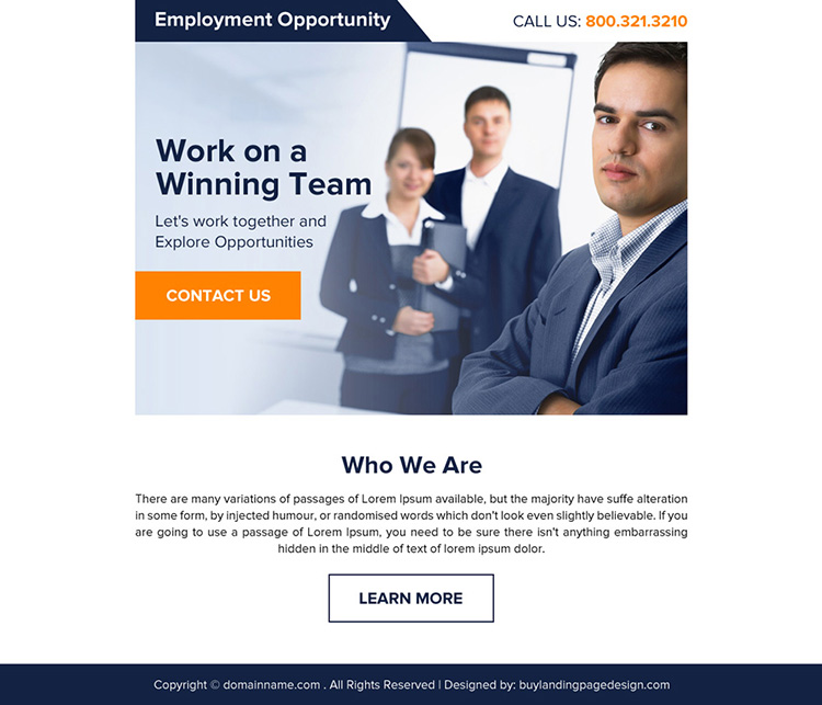 clean employment opportunity ppv landing page design