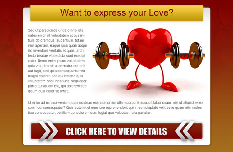express your love strong call to action ppv landing page design
