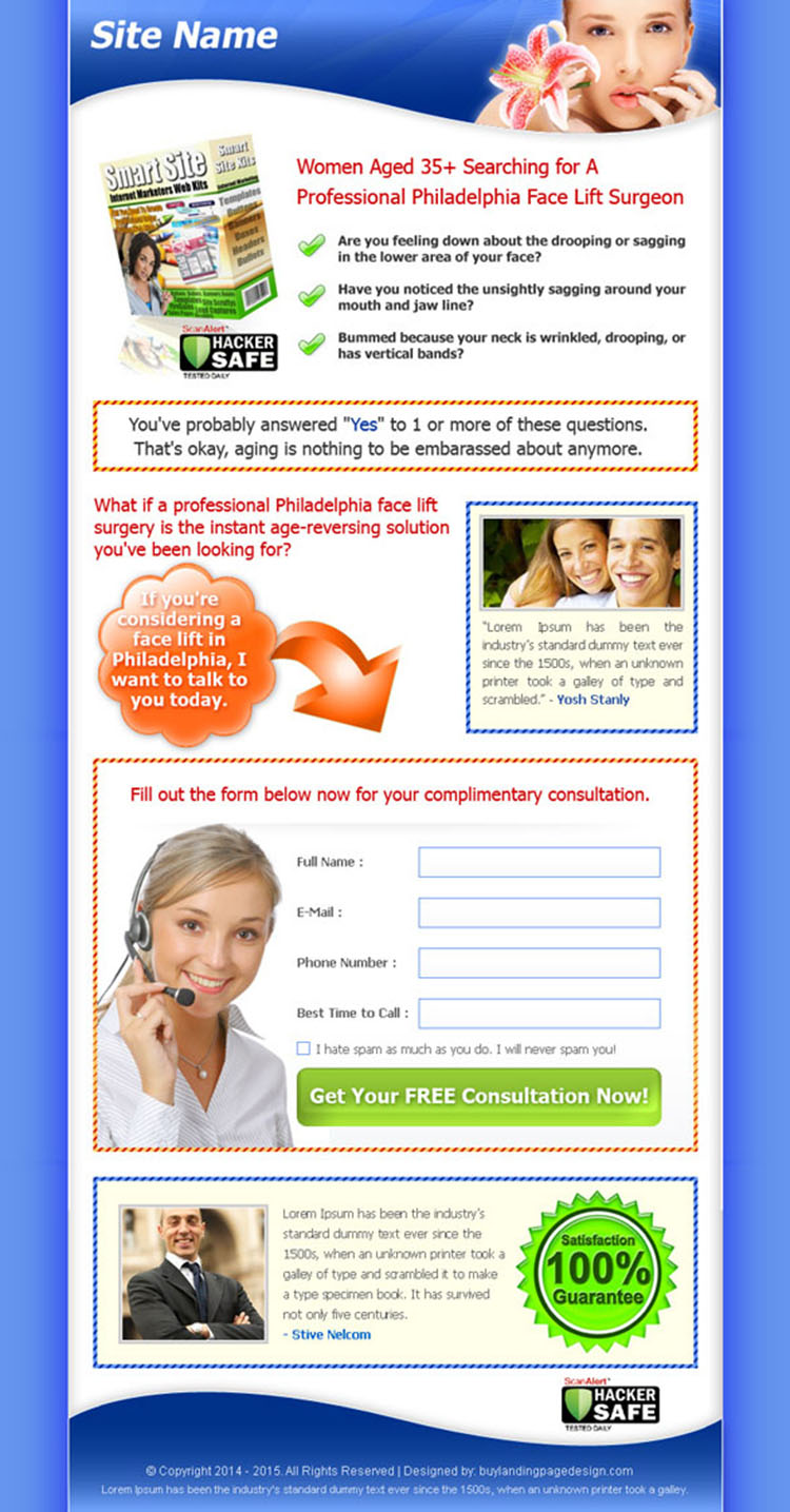 face lifting lead capture sales page design template for sale