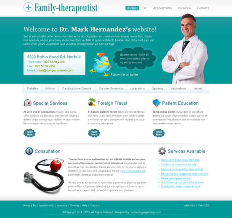 professional and user friendly website template design psd for family doctor