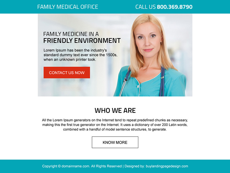 family medical office professional ppv landing page design