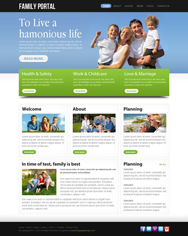 highly effective and converting family portal website template design psd