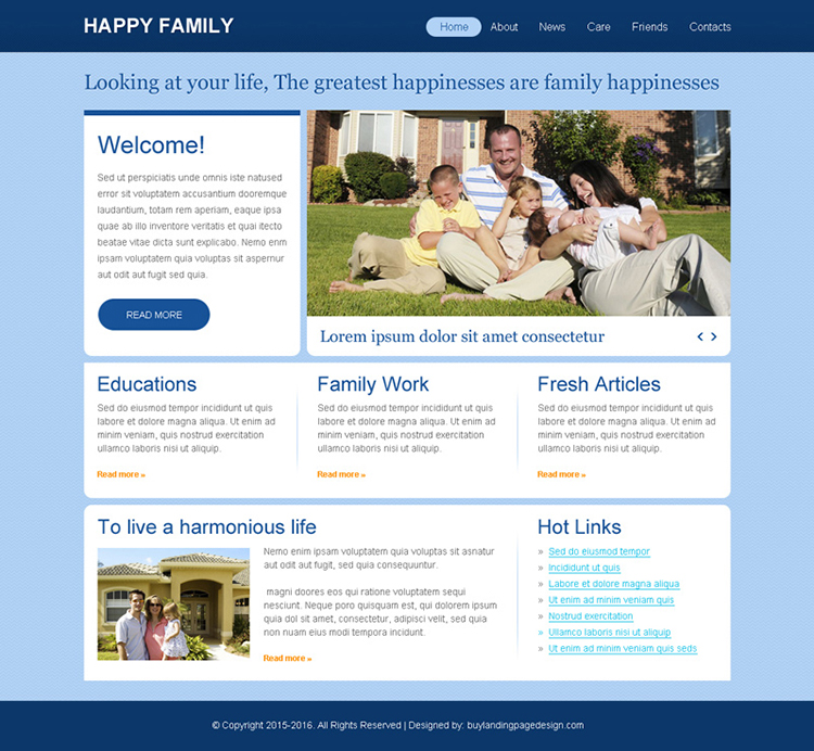 affordable family website template psd for sale
