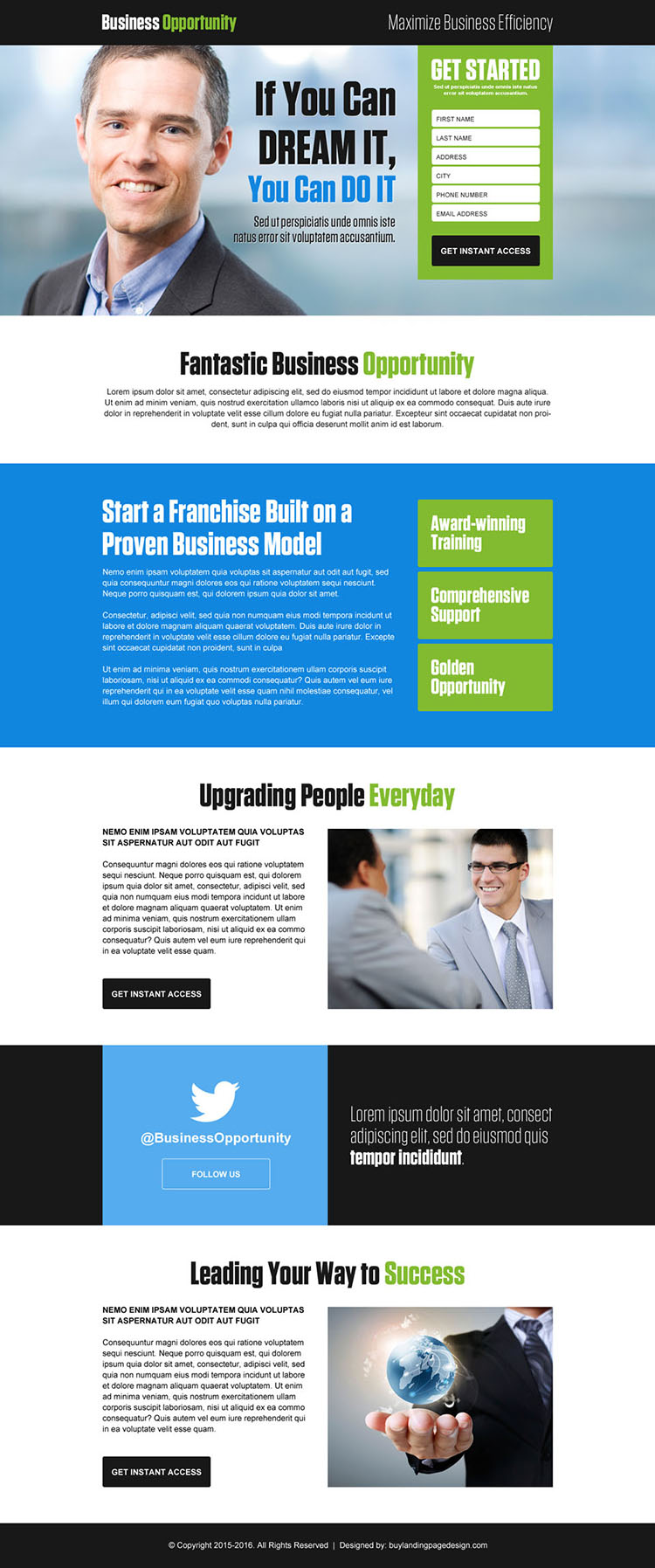 fantastic business opportunity lead generating landing page design