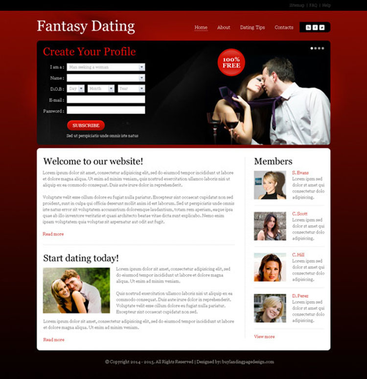attractive and appealing create your profile lead generating dating website design
