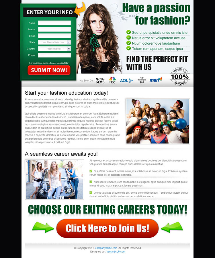 passion for fashion career lead capture page design