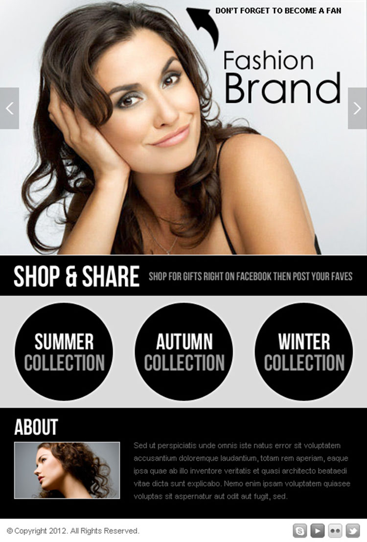 fashion collection facebook fan page html design