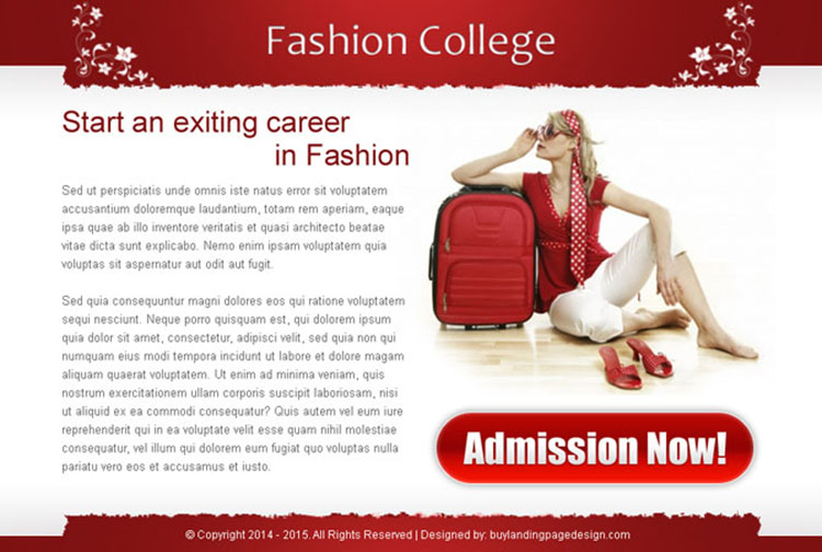 exciting career in fashion college attractive and converting ppv landing page design template