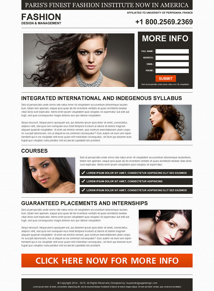 fashion institute minimal and clean lead generation landing page design