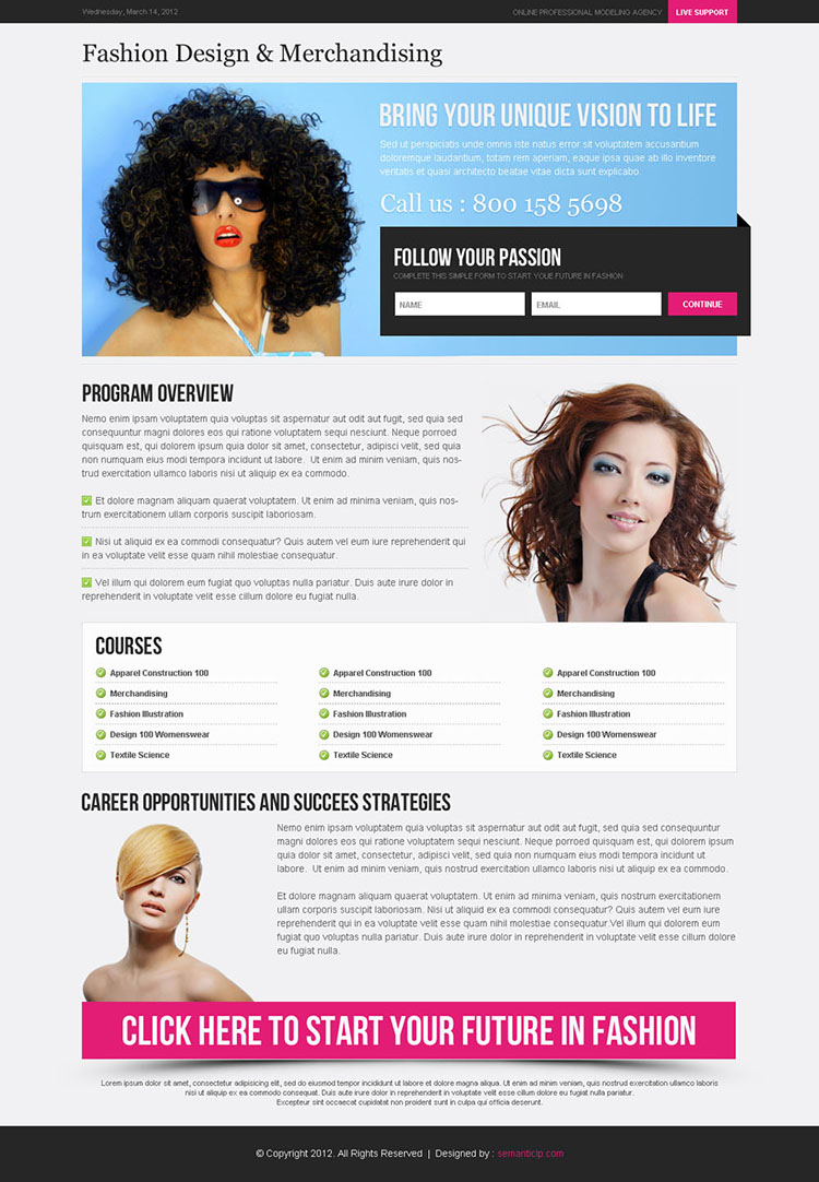 follow your passion optimized and converting small lead capture landing page design template