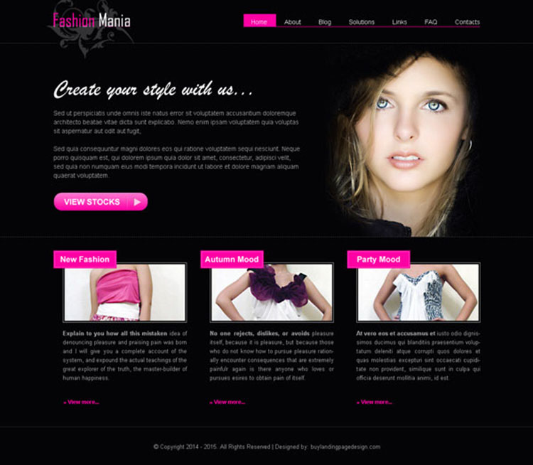 dark colored fashion mania converting website template design psd