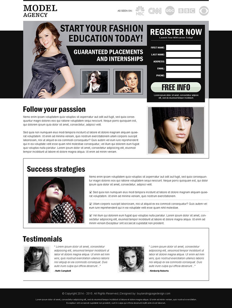 start your fashion education today effective converting and clean register now splash page design