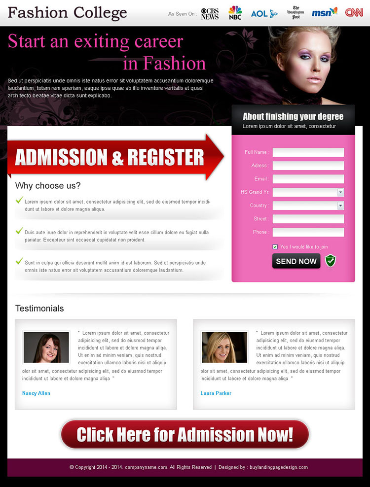 fashion and modeling lead capture landing page design template