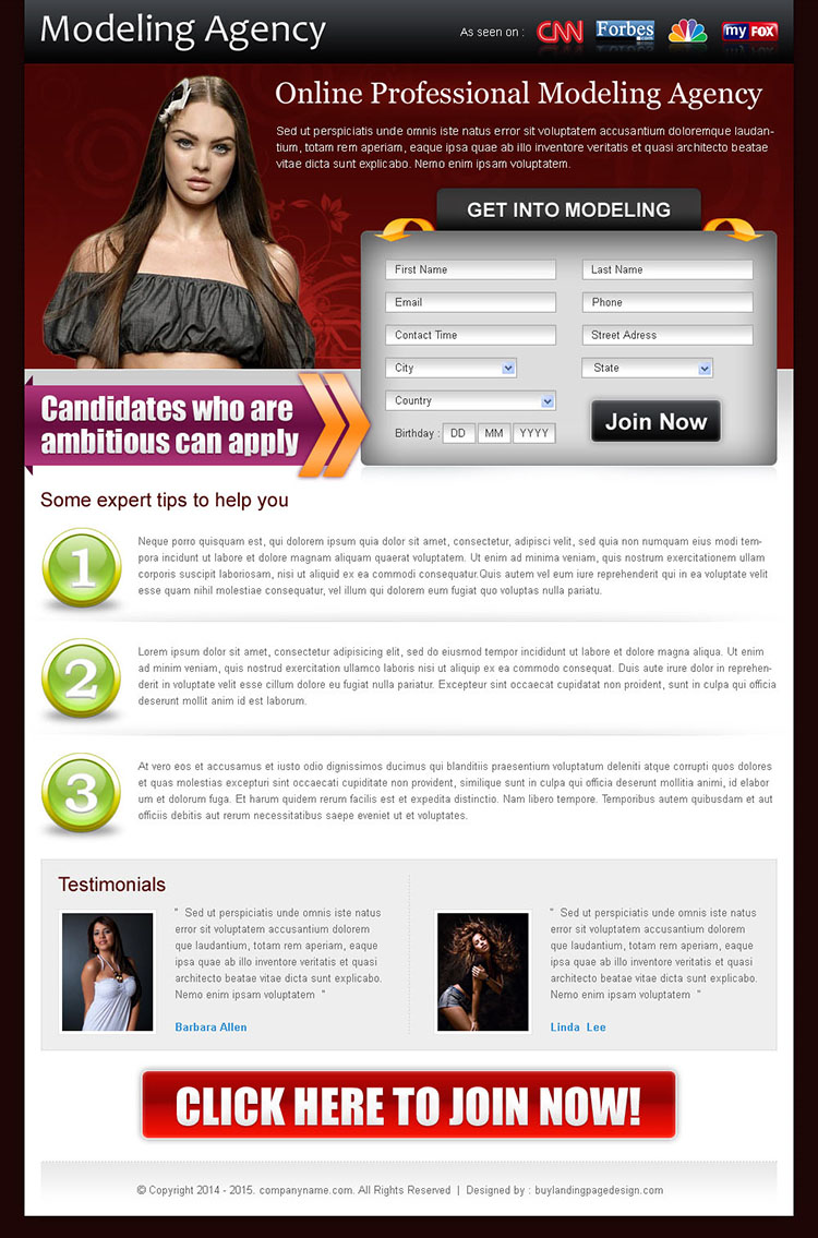 appealing modeling agency lead capture squeeze page template design