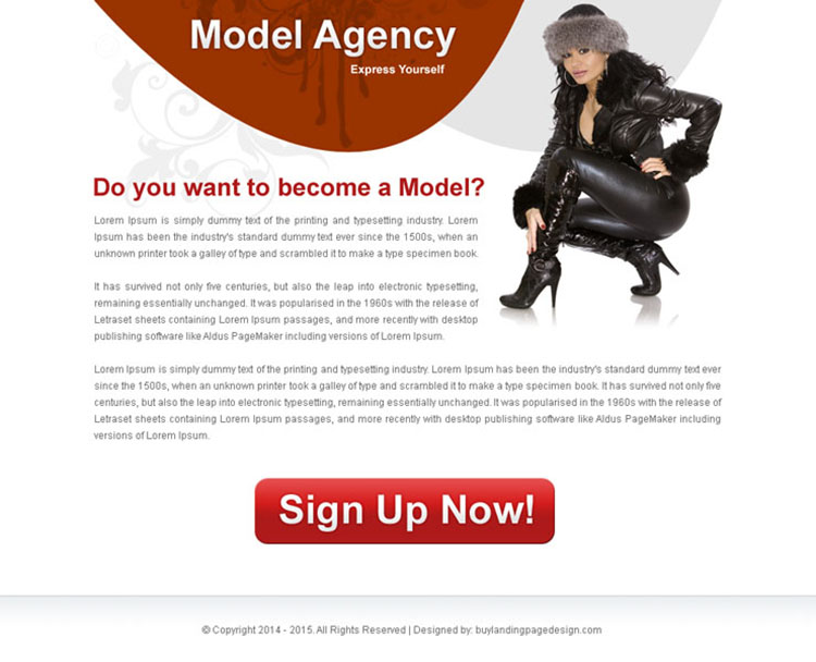 modeling agency clean and effective ppv landing page design