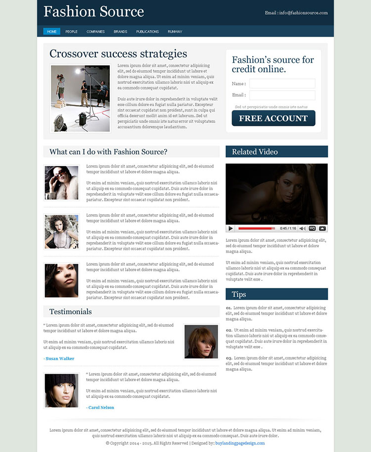 fashion source clean converting and optimized daily news landing page design
