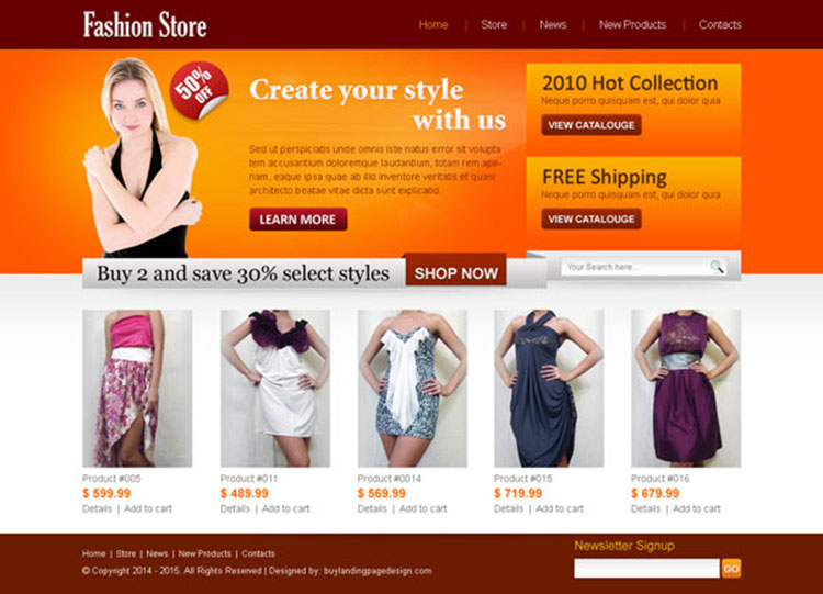 fashion store website template psd to create your online store