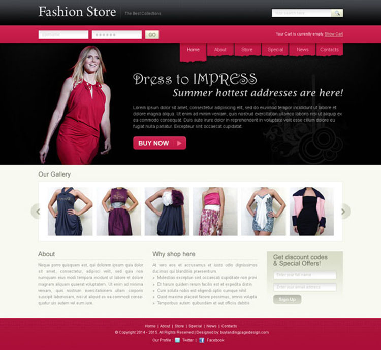fashion store appealing and attractive website template design psd