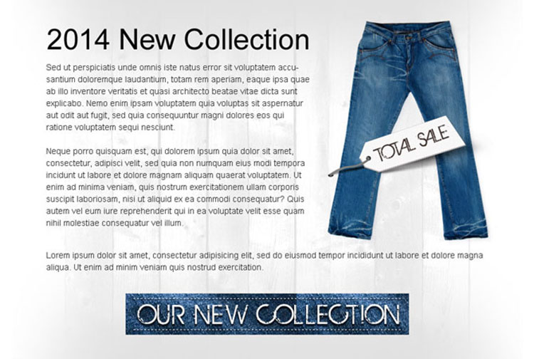 fashion wear new collection clean and effective call to action ppv landing page design