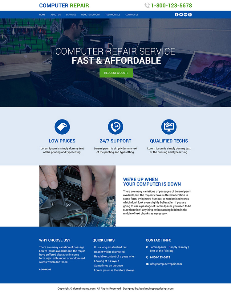 affordable computer repair service website design