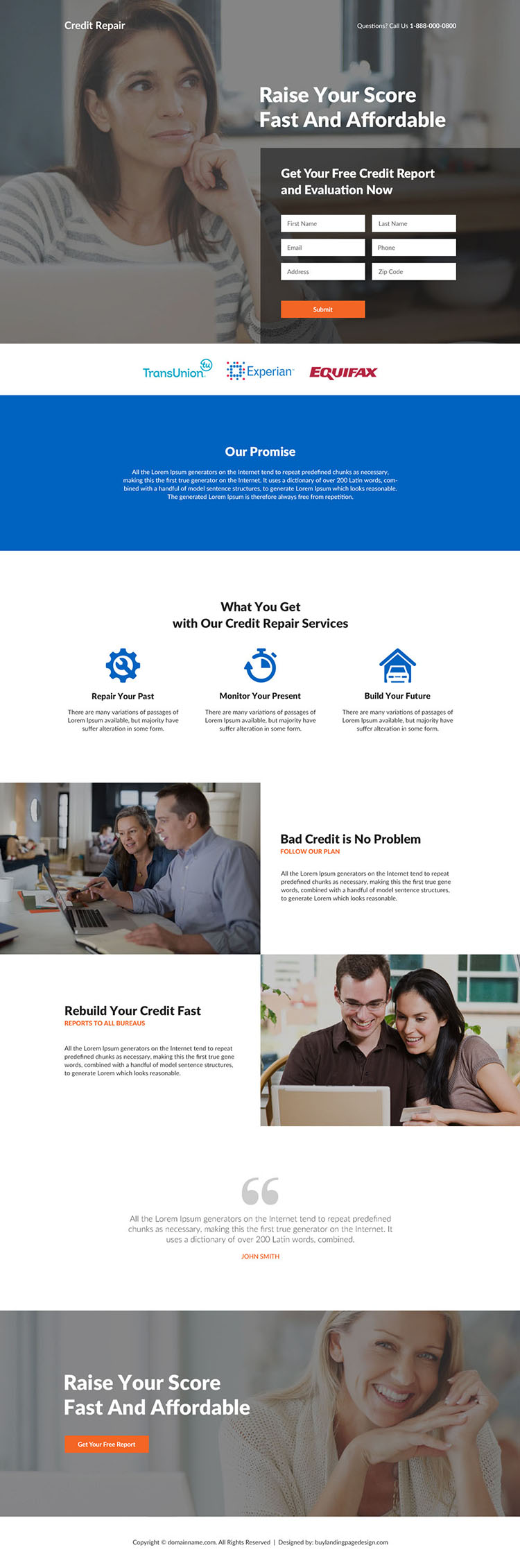 affordable credit repair services responsive landing page design