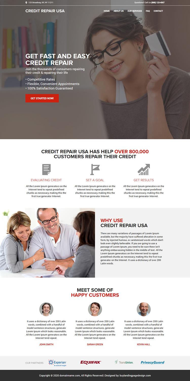 fast and easy credit repair service responsive website design