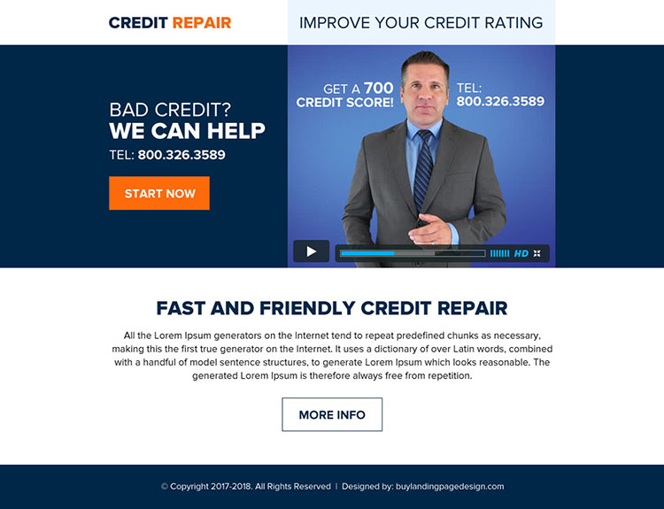 fast and friendly credit repair ppv landing page
