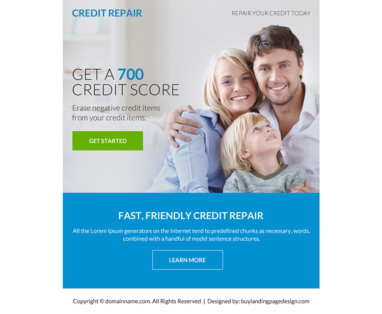 fast and friendly credit repair ppv landing page design
