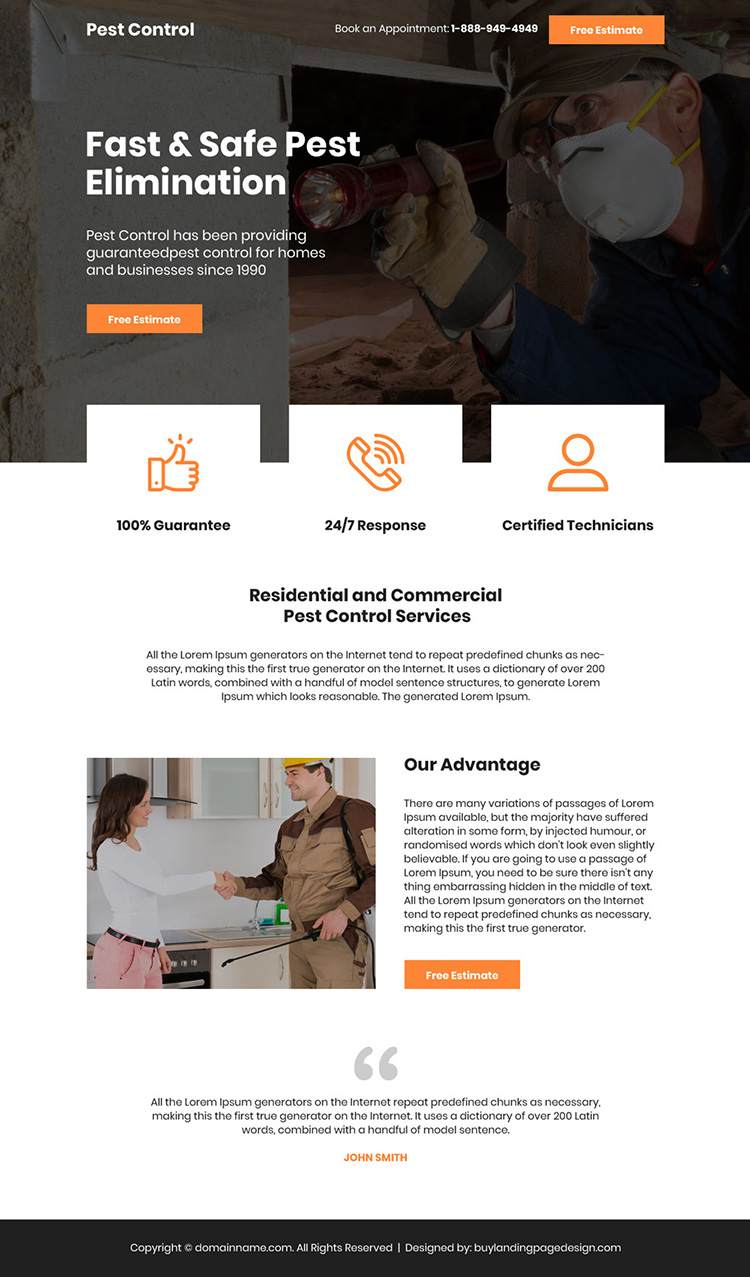 safe pest elimination free estimate bootstrap landing page