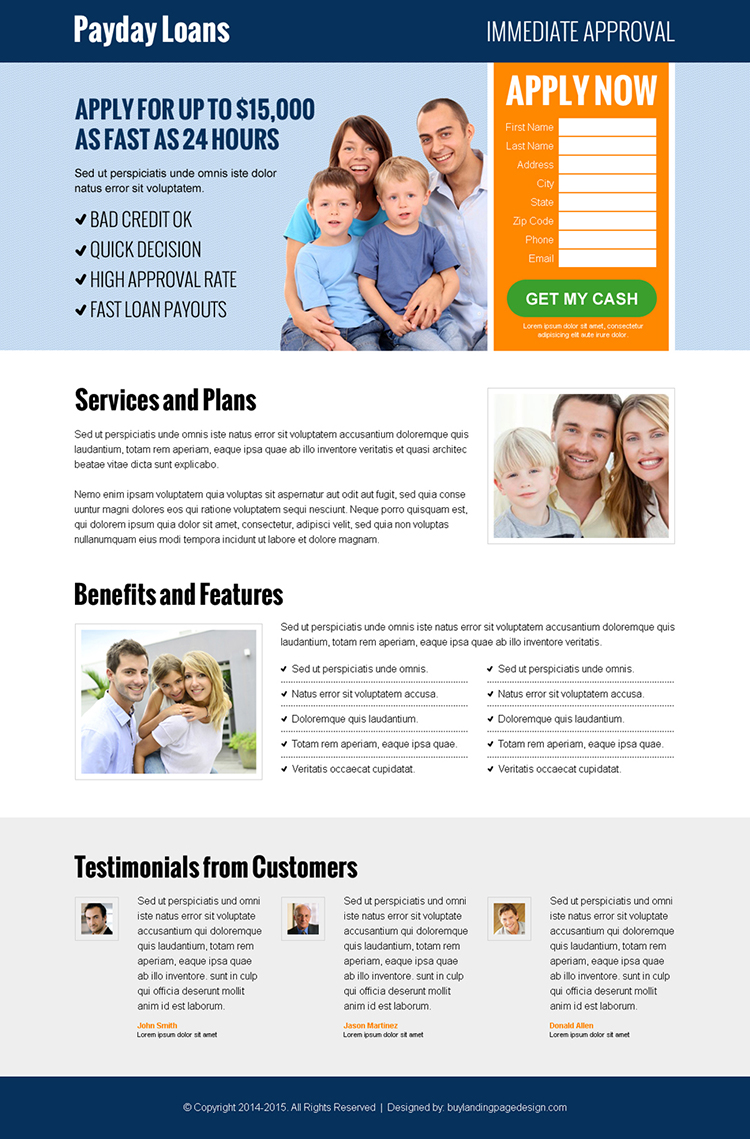 payday loan business conversion lead capture landing pages to boost your business with leads and sales