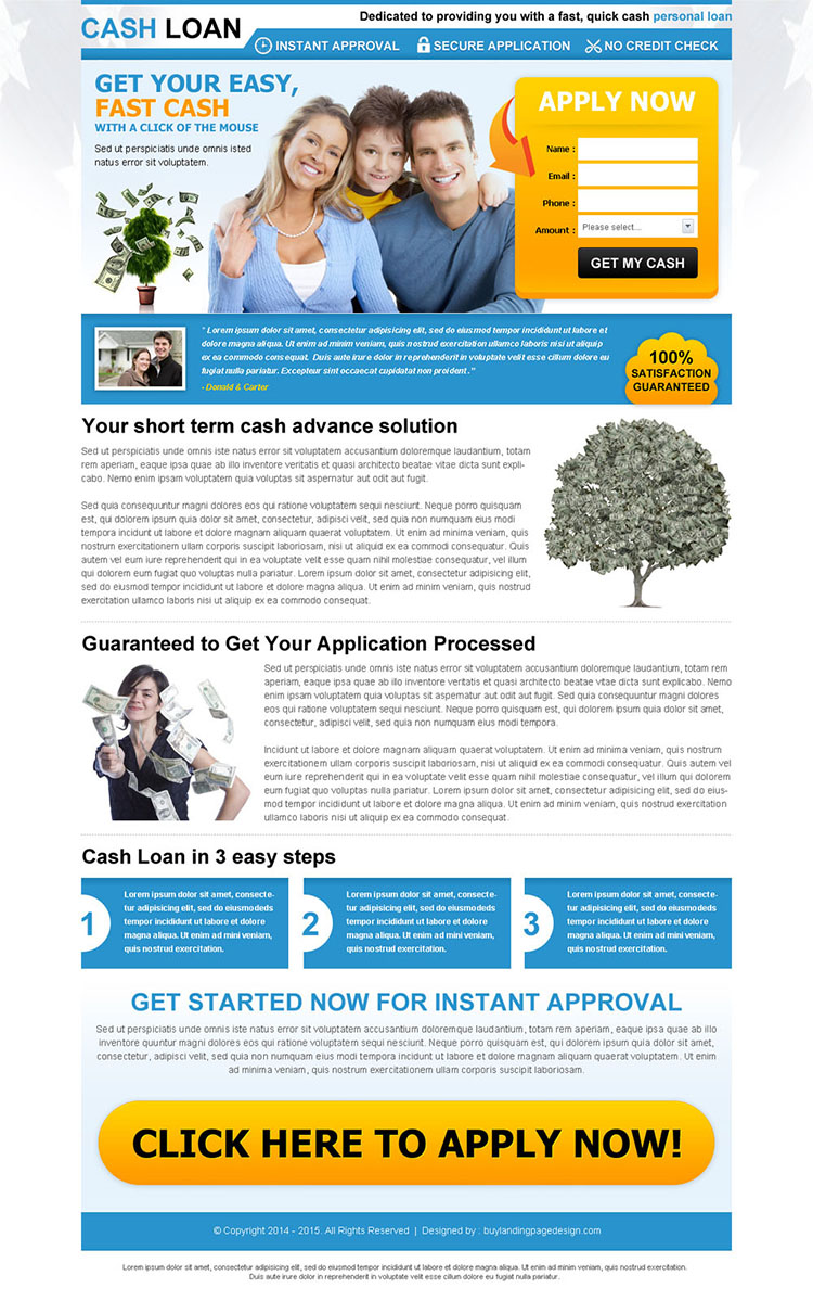 easy and fast cash loan lead capture squeeze page design