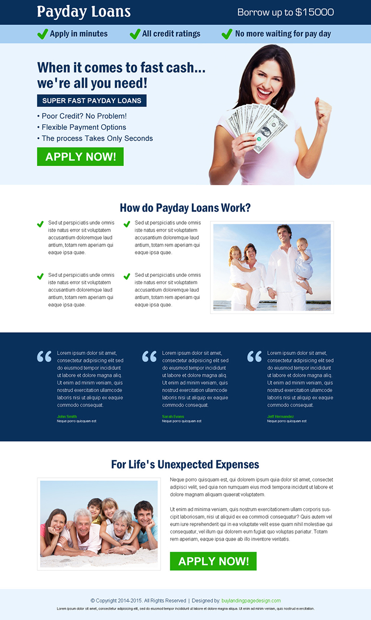super fast payday loan apply now call to action landing page design template