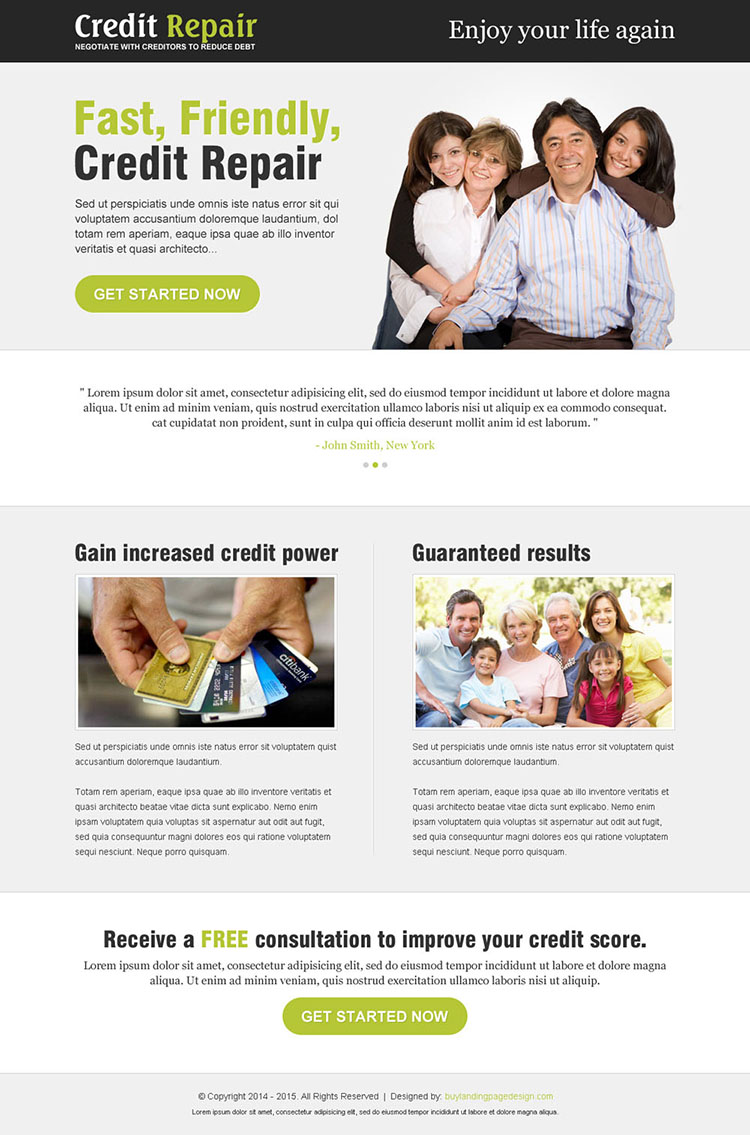 credit repair clean and minimal looking best landing page design