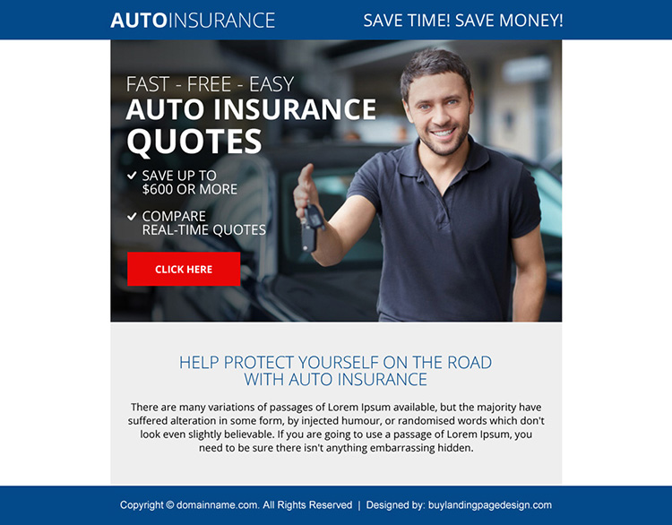 professional auto insurance quote ppv landing page design