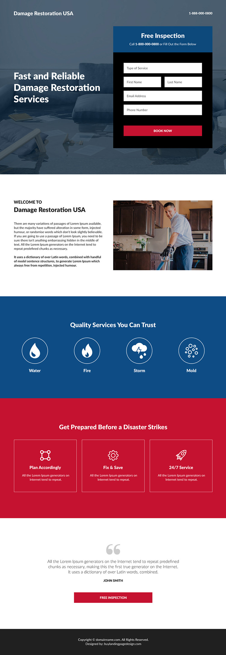 reliable damage restoration service free inspection responsive landing page