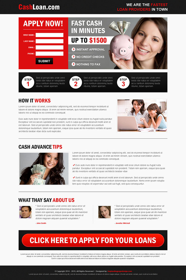 fast cash loan service small lead capture effective and converting landing page