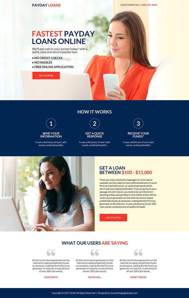 eye catching fastest payday loan online application landing page