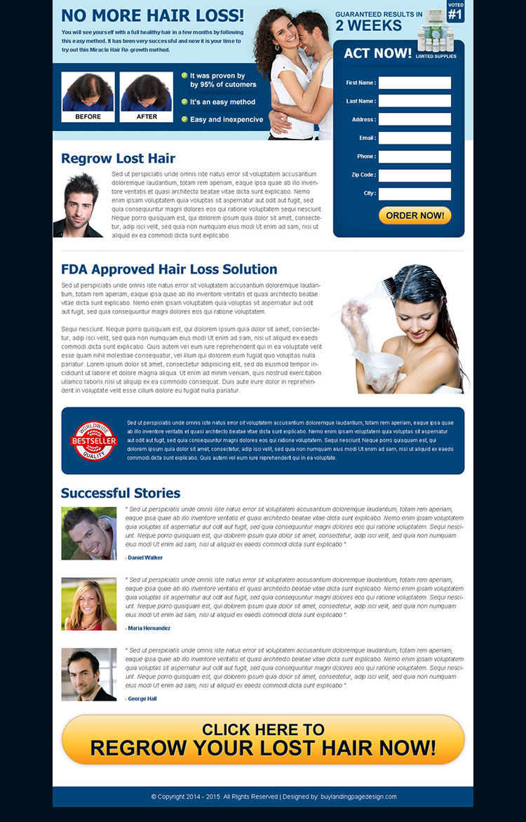 hair loss solution product lead generating landing page
