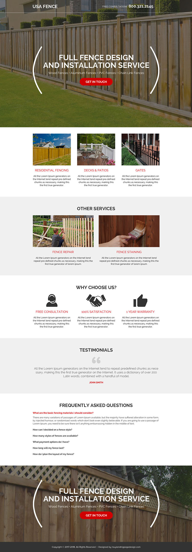 full fence design and installations service landing page design