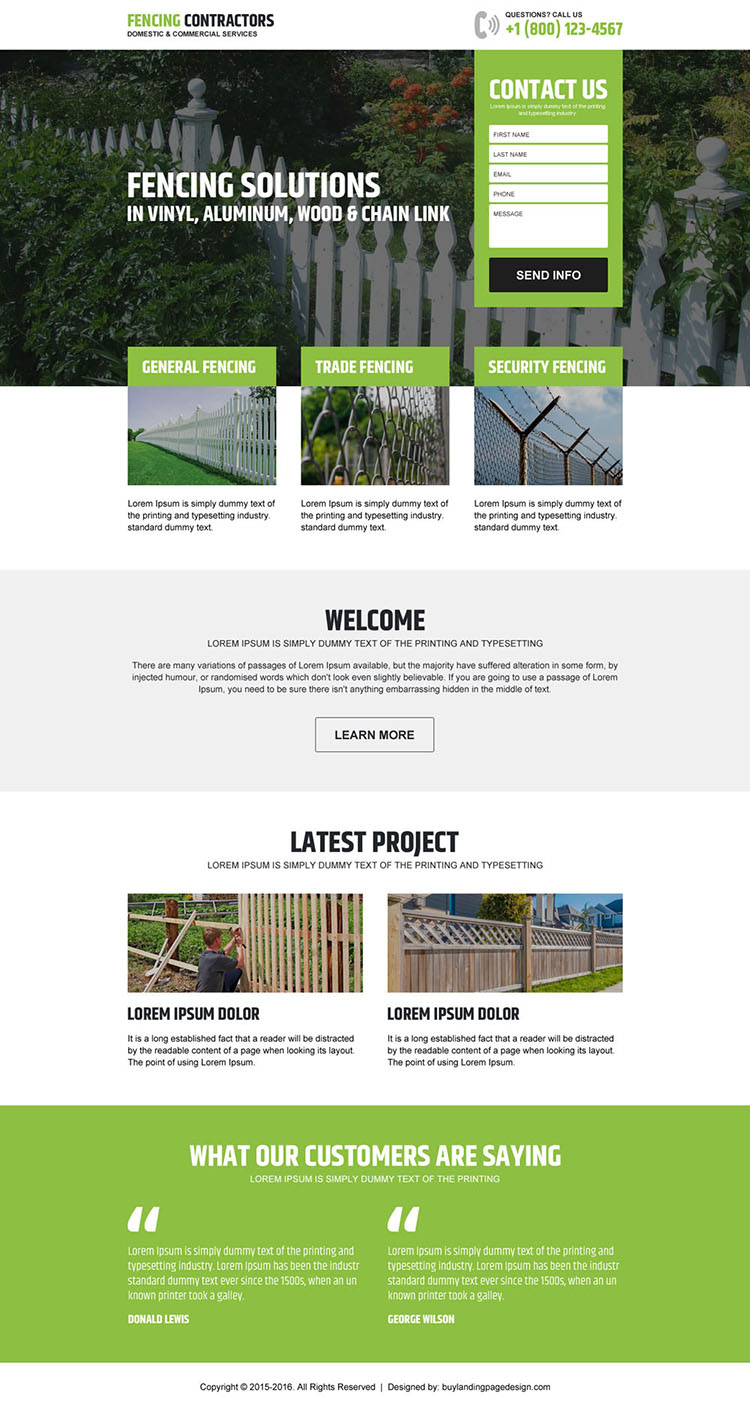 fencing contractors service lead generating landing page design