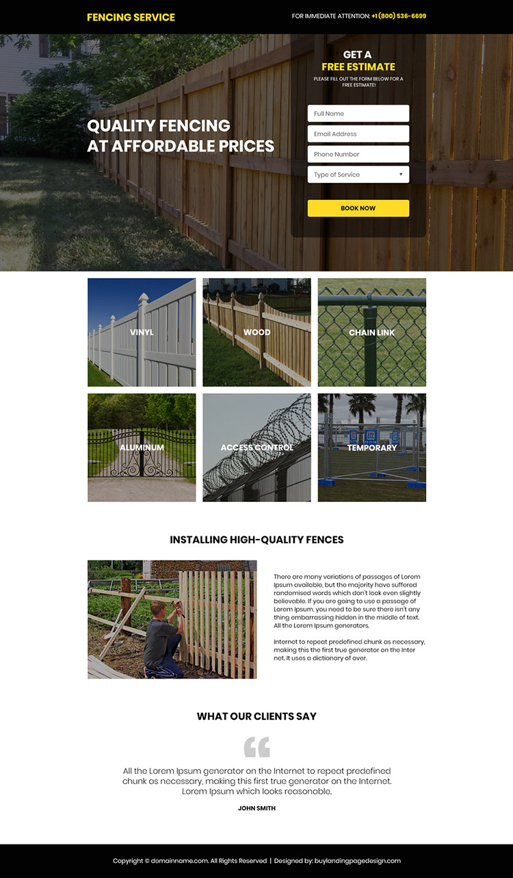 quality fencing services free estimate responsive landing page
