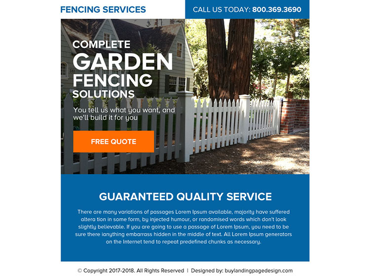 fencing service free quote lead generating ppv landing page