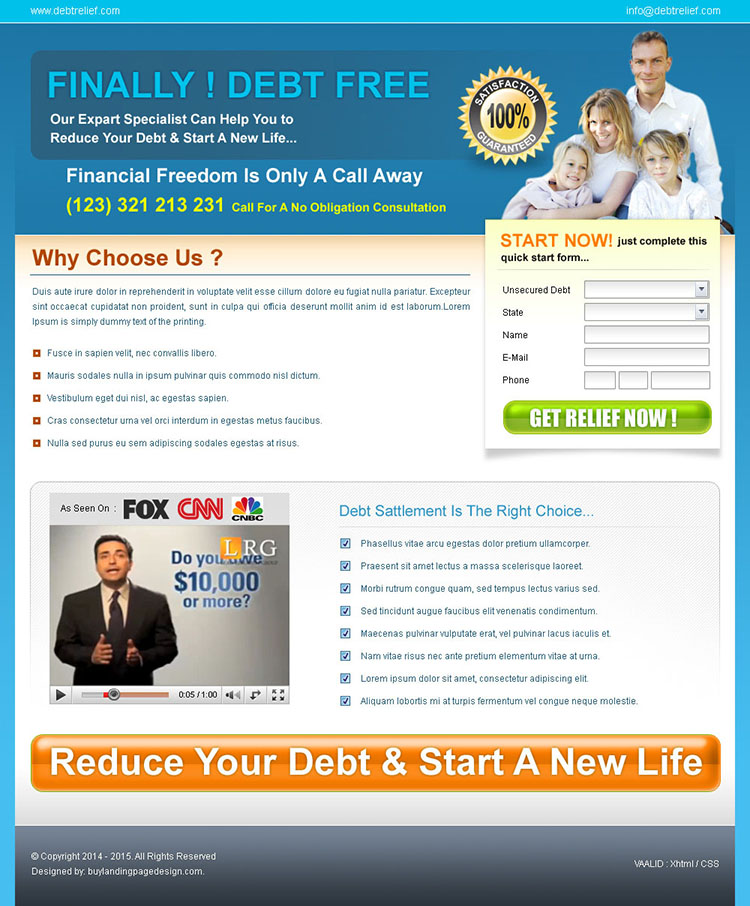 reduce your debt and become free landing page design for sale
